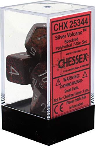 Chessex CHX25344 Dice-Speckled Silver Volcano Set