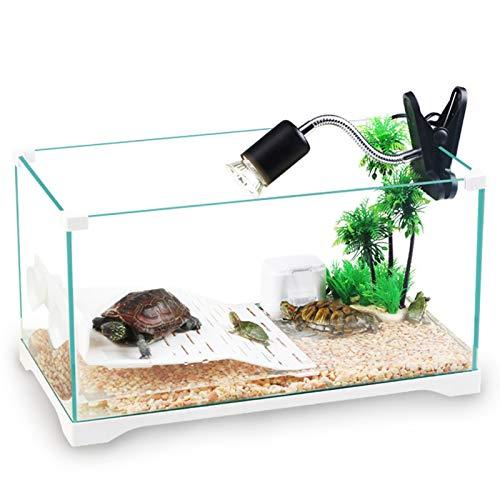 MYYYYI Turtle Aquarium HD Glas ökologisch gefilterte Rücklicht mit Trocknungsplattform für Turtle Aquarien Fischschüssel 230B