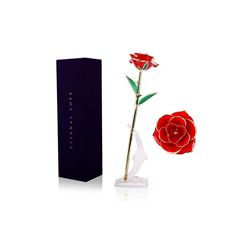 silk flower arrangements wildlove 24k gold dipped rose, red artificial rose flowers with long stem transparent stand forever love gift for her valentines day anniversary birthday gifts for wife girlfriend