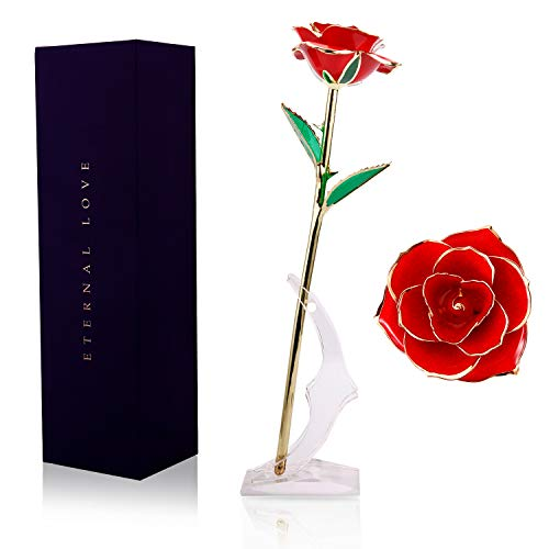 WILDLOVE 24K Gold Dipped Rose, Red Artificial Rose Flowers with Long Stem Transparent Stand Forever Love Gift for her Valentines Day Anniversary Birthday Gifts for Wife Girlfriend