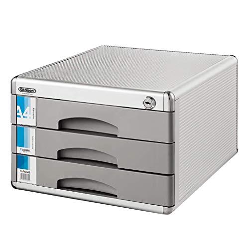 GJSN Archivador Multifunción para Oficina, Estante para Archivos, con Cerraduras Y Cajones Gabinete para Alenamiento de Documentos Alenamiento de Datos Carpeta de Archivos A4 Aleación de Aluminio Esc