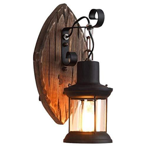 ECSWP Lámpara de pared de lujo con luz posmoderna estilo industrial retro madera maciza personalidad creativa bar nostálgico cafe restaurante barco madera lámpara de pared decorativa