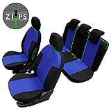 rmg-distribuzione Coprisedili per Punto Grande Versione (2005-2011) compatibili con sedili con airbag, bracciolo Laterale, sedili Posteriori sdoppiabili Colore Nero Blu R05S0191