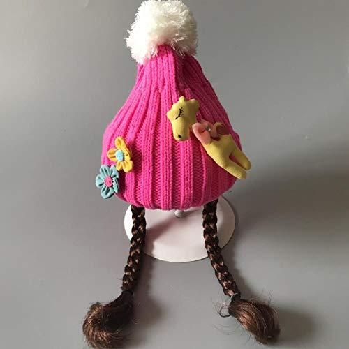 Bébé Chapeau Tricotées Jeux De Filles Bébé Coiffures Mode Épais Chapeau Perruque Bonnet De Laine De Chapeau Chaud De Ski D'Hiver , 2-8 Ans ( Chapeau À La Main Élastique) , Taille , Rose Girafe Rose