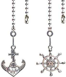 Hyamass 2pcs Vintage Anchor and Wheel Charm Pendant Ceiling Fan Danglers Fan Pulls Chain Extender with Ball Chain Connector Navigation and Navy Style(Nickel)