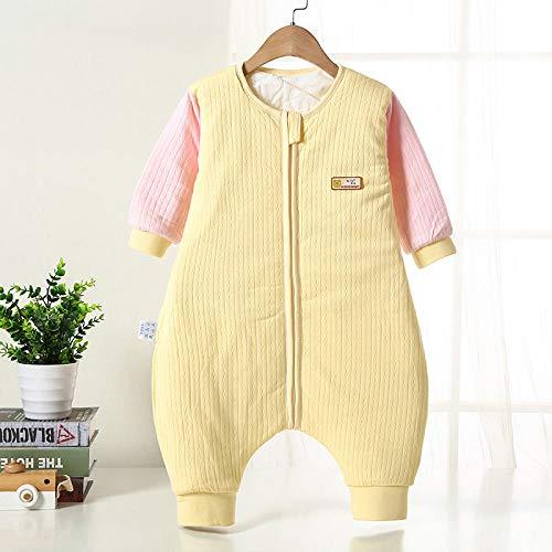 Katoenen mouwloze babyslaapzak, herfst- en wintergewatteerde slaapzak met gespleten pijpen, baby-anti-kick-quilt-gele poederhoes_90 meter 80-90 cm 1-2 jaar oud, slaapzak Baby-wikkeldeken
