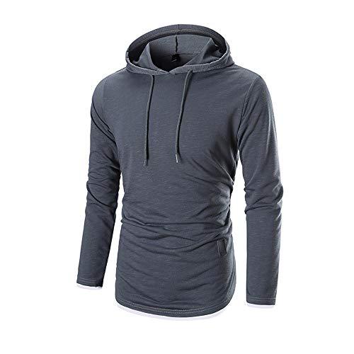 ESAILQ Herren Herbst Langarm-Kapuzenshirt Kapuzenpulli Top T-Shirt Outwear Bluse(XXX-Large,Dunkelgrau)