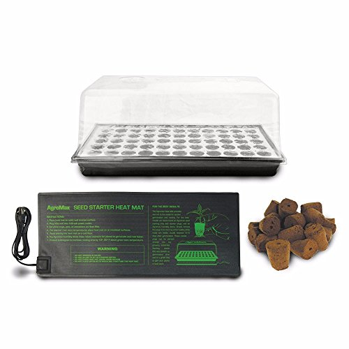 HTGSupply Floating Seed Starter Germination Kit with Tall Humidity Dome, Root Plugs & Heat Mat
