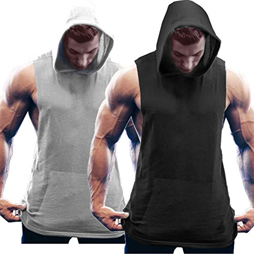 COOFANDY Herren Tank Top Ärmelloser Workout Sport Fitness Hoodie Muskelshirt für Gym Training 2er Pack Mix Schwarz/Hellgrau M