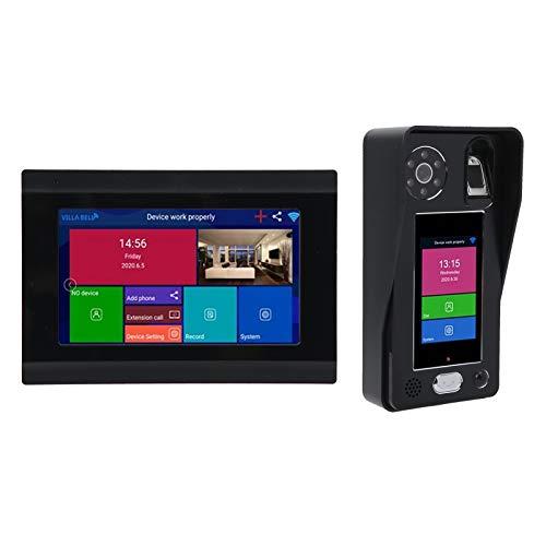 Timbre de video inalámbrico 1080P WiFi, sistema de intercomunicación con timbre de videoportero, sistema de entrada de puerta con reconocimiento facial de contraseña de huellas dactilares(EU)
