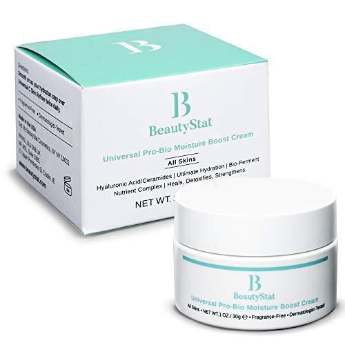 BeautyStat Cosmetics Universal Pro-Bio Moisture Boost Cream, Hyaluronic Acid Facial Skin Moisturizer, Natural Anti Aging, Anti Wrinkle (1 oz)