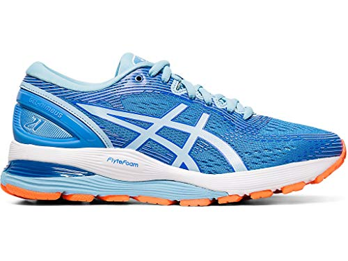 ASICS Women's Gel-Nimbus 21 Running Shoes, 8M, Blue Coast/Skylight