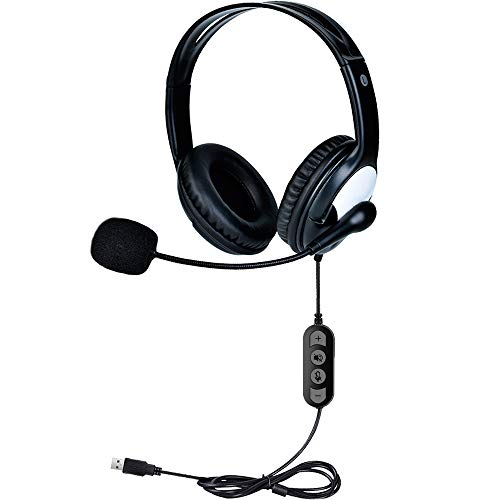 Computer Headset, PC Headset, USB Headset mit Noise Cancelling Mikrofon, Leicht Wired Computer Headset mit Gehörschutz für Skype Anrufe/Online Kurs/Laptop/PC/Call Center/Studium