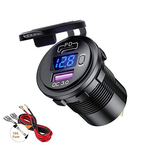 Thlevel Tipo C PD y QC3.0 Toma USB Coche 12V / 24V Cargador de Coche Impermeable con Interruptor y Voltímetro LED Indicador para Coches, Motos, Vehículos Recreativos, Camiones, Barcos