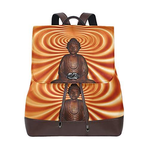 FANTAZIO Mochilas Abstracto Buddha Meditation School Bag Mochila de cuero