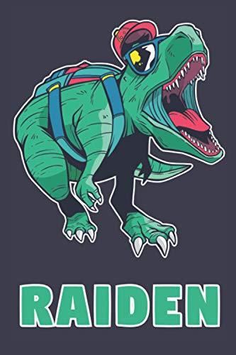 Raiden: School Dinosaur T-Rex Boys Name Dino Dinos Raiden, Lined Journal Composition Notebook, 100 Pages, 6x9, Soft Cover, Matte Finish, Back To School, Preschool, Kindergarten, Kids