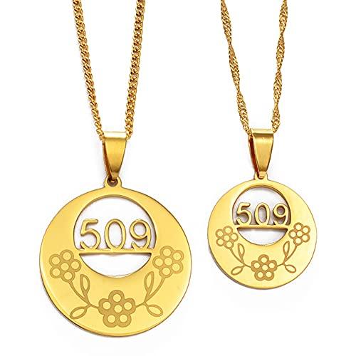 Kkoqmw Collares con código de área de Haití para Mujeres y Hombres, encantos, Cadenas Colgantes, joyería de Color Dorado de Ayiti, Regalos de Haytian