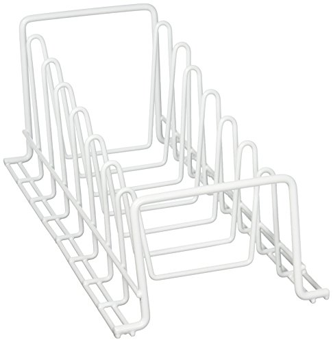 Organize It All Vinyl Coated Kitchen Wire Lid Plate Rack - White