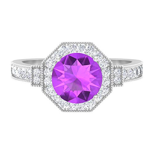 Rosec Jewels 18 quilates oro blanco redonda round-brilliant-shape H-I Purple Diamond Creado en laboratorio de kunzita
