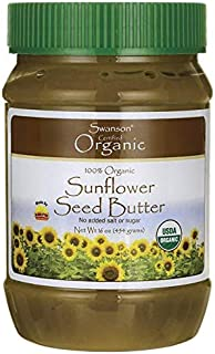 Swanson 100% Organic Sunflower Seed Butter 16 Ounce (1 lb) (454 g) Solid Oil