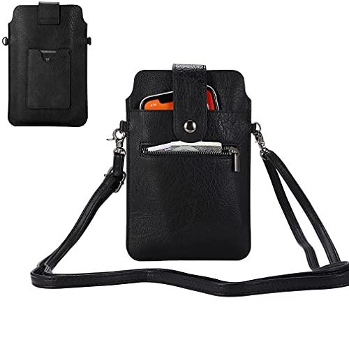 Crossbody Handytasche Damen PU Leder Schultertasche Handtasche mit Kartenfach für Galaxy S20 Ultra Note 10+/9 S10 Plus A20s A70 J8, Google Pixel 3a XL/4 XL, BLU Vivo XL5/XL4, OnePlus 7T/8 (schwarz)