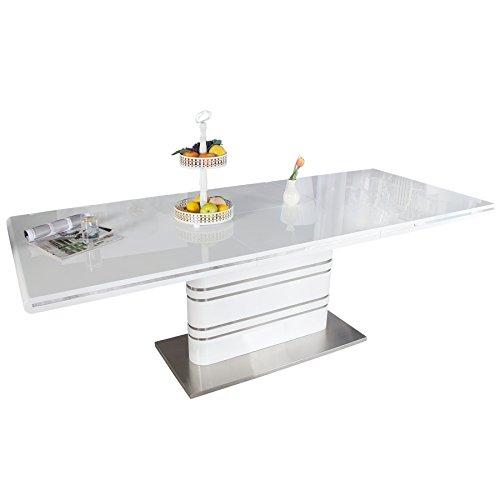 Invicta Interior Ausziehbarer Design Esstisch Atlantis weiß Hochglanz 160-220cm Konferenztisch Tisch ausziehbar mit Butterfly Einlage