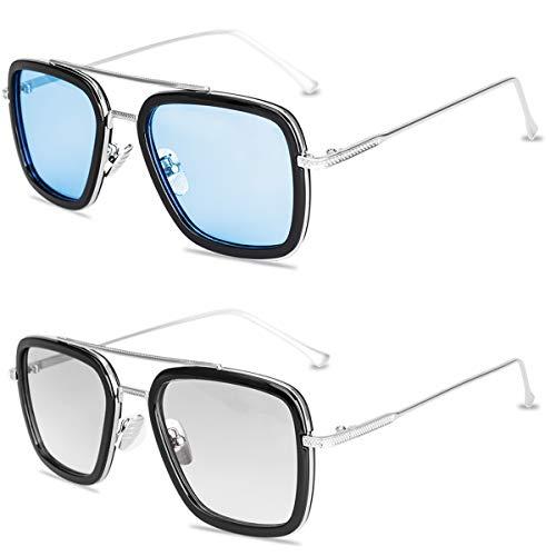 Óculos de sol polarizados Tony Stark para homens e mulheres, armação de metal quadrada de aviador, aranha, Homem de Aranha, óculos de ferro, edição, Tony Stark Sunglassr + Edith Glasses, Medium