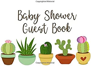 Baby Shower Guest Book: Cactus Baby Shower Guest Book with Gift Log