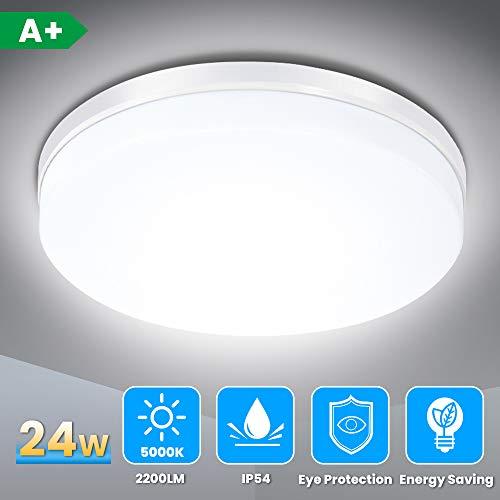 LED Deckenleuchte, SOLMORE 24W LED Deckenlampe IP54 Wasserfest Badlampe, 5000K Kaltweiß, 2200LM Lampen ideal für Badezimmer Schlafzimmer Balkon Küche und Wohnzimmer, Ø23cm