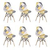 Uderkiny Set di 6 Sedia in Stile Nordico Sedia da Pranzo Patchwork, Adatte per Sala da Pranzo Soggiorno (Giallo-6)