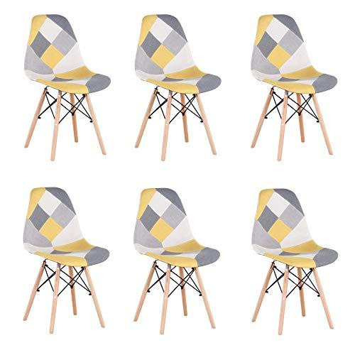 Uderkiny Juego de 4 sillas sillas de Comedor de Estilo Nórdico, Apto para Sala de Estar Comedor (Amarillo-6)