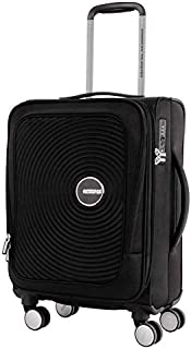 American Tourister Curio SS Softside Spinner Luggage, Black, 55 Centimeters