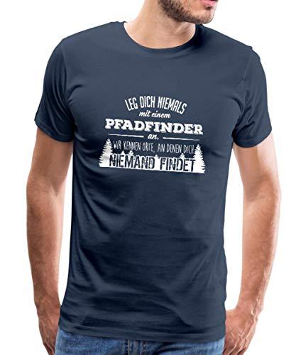 Leg Dich Nie Mit Einem Pfadfinder An Spruch Männer Premium T-Shirt, M, Navy