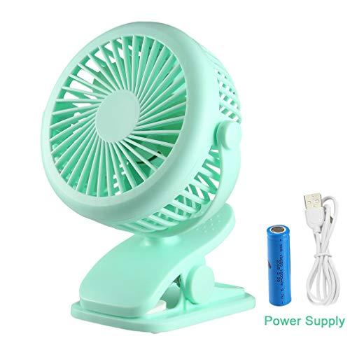 FPVRC Clip USB-ventilator met 4800 mAh powerbank, externe accu, kleine draagbare tafelventilator, 360 graden draaibaar, voor kinderwagen, auto, kantoor, laptop, outdoor, camping groen