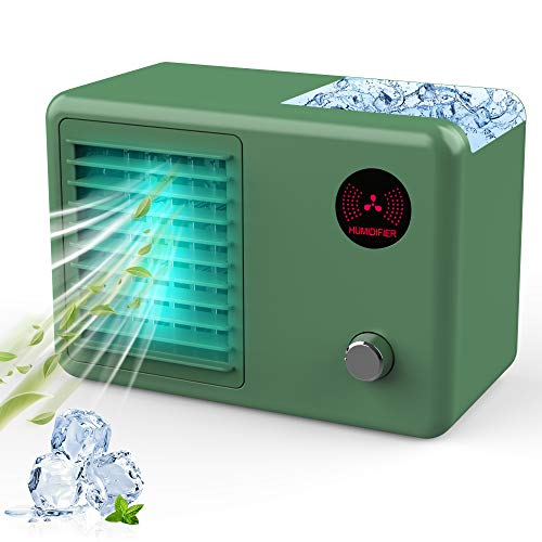 Personal Air Cooler, 2000 mAh Cordless Portable Air Conditioner with 3 Speed Modes, Rechargeable Mini Air Conditioner Fan with 7 Colors Night Light for Car, Desktop, Office, Room (Green)