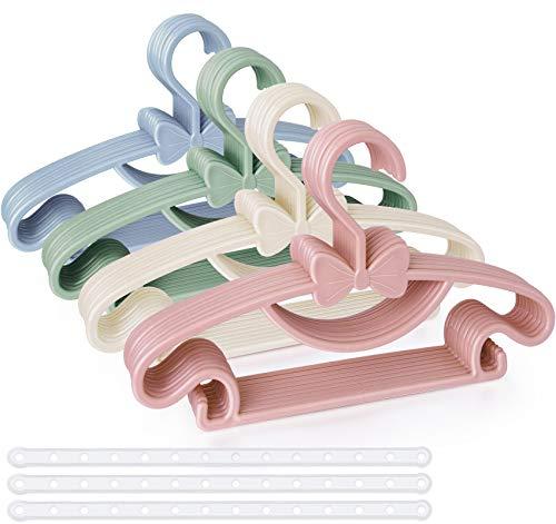 Kinder Kleiderbügel Mehrfarbig, 40 Stück Babykleiderbügel Set Kinderkleiderbügel - 29.5cm mit 3pcs Platzsparend Kleiderbügelketten für Babyklamotten Kleiderschrank Schrank Kleidung