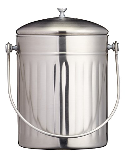 Sale!! New Kitchencraft Stainless Steel Compost Bin Kitchen Scrap Scraps Lid 5 Litres