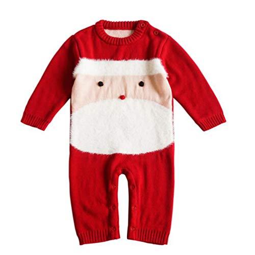 SOIMISS Babykleding voor babys, gebreide overall, outfit, kersttrui, kleine kinderen, kerstman, gebreide outfit, kleding, vakantie, kostuum, accessoires, maat 90