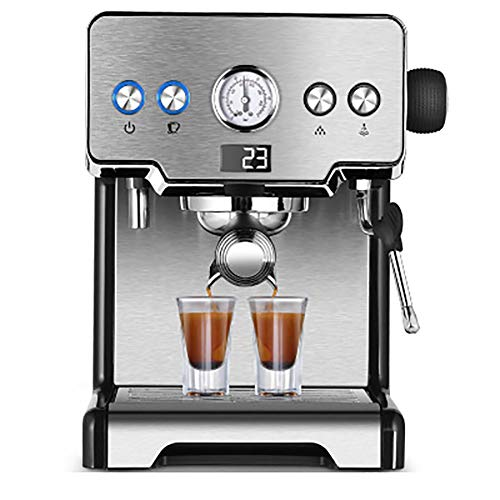 YBCD Cafetera para Uso Profesional/cafetera con Filtro semiautomático Italiano/máquina de café Espresso y Capuchino multifunción/con Barra de Vapor integrada/Espuma de Leche/Plata