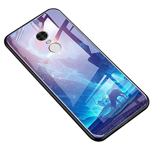 Funda Compatible con Xiaomi Redmi Note 4X.Carcasa Caso Vidrio Luminoso Dura Protectora Completo Cubierta PC Silicona Dibujo Diseño Brillo Estuches Ultradelgado Antigolpes Anti-Arañazos,Ciervo Lunar