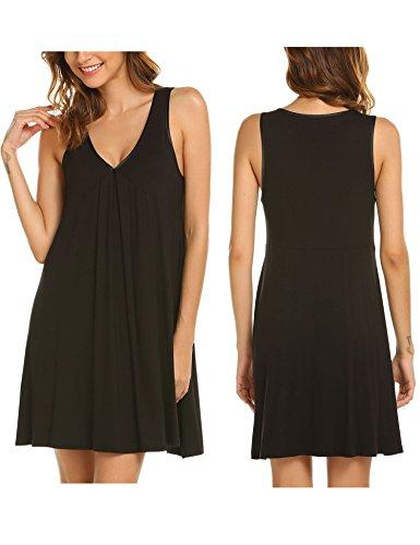 Ekouaer Sleeveless Sleepwear Casual Cotton Nightgown Dress With Button,Dark Gray,Medium