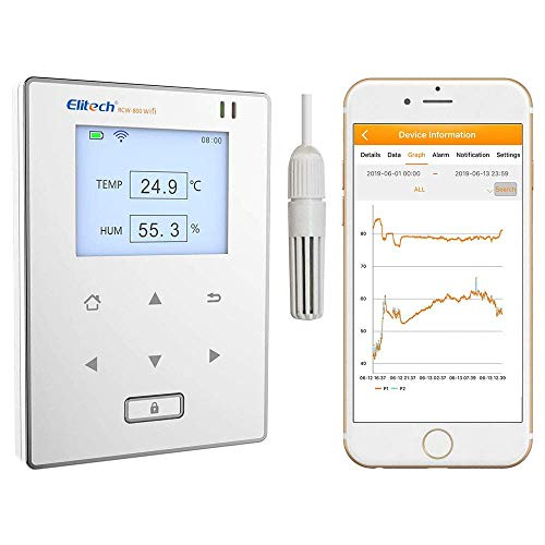 wifi temperature alarms Elitech RCW-800 WiFi Temperature and Humidity Data Logger Wireless Remote Monitor. 24/7 Monitoring, SMS Alerts & Historical Data. Free iPhone/Android Apps, Monitor from Anywhere, Anytime!