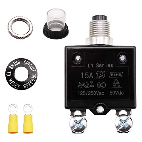 Tnisesm 15A Push Button Circuit Breaker 125/250V AC 50V DC, Manual Reset Thermal Circuit Breaker with Quick Connect Terminals, Waterproof Button Cover and 2 Pcs M4 Ring Crimp Terminals Connectors
