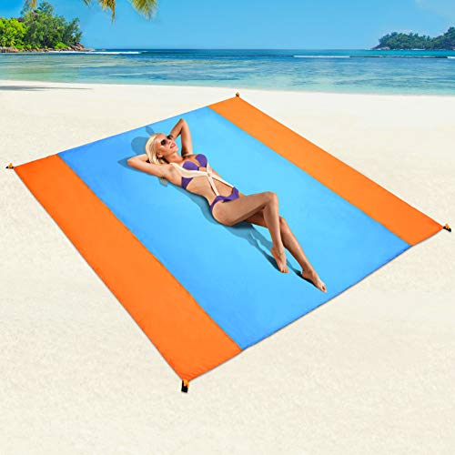 beach mat for adults Sand Free Beach Blanket, Waterproof Beach Mat for 4~6 Adults, Quick Drying Heat Resistant Picnic Blanket for Outdoor, Beach Party, Travel, Camping, Hiking, and Music Festivals, 79