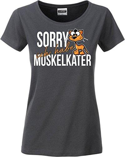 Siviwonder Women T-Shirt - MUSKELKATER - Fitness lustig Katze Sorry Training - by Dark Grey L -38