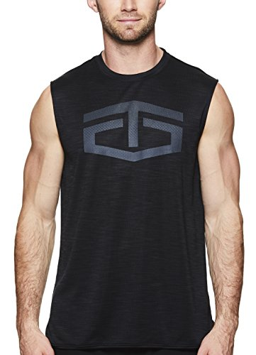 TapouT Men's Muscle Tank Top - Sleeveless Workout & Training Activewear Shirt - Weightlifting & Bodybuilding Shirts for Men - Black Heather Battle Muscle, Small