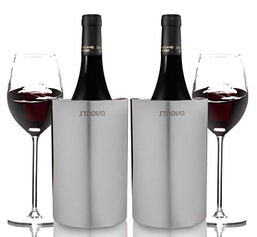 Strova - Enfriador para botellas de vino (2 unidades, doble pared, acero inoxidable, aislamiento, para fiestas, eventos o hospedaje, para botellas de vino y champán de tamaño estándar