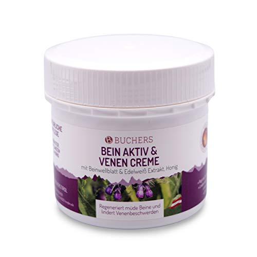 Buchers Bein Aktiv und Venen Creme   200 ml   Mit Beinwellblatt, Edelweiß Extrakt und Honig   Hergestellt in Österreich
