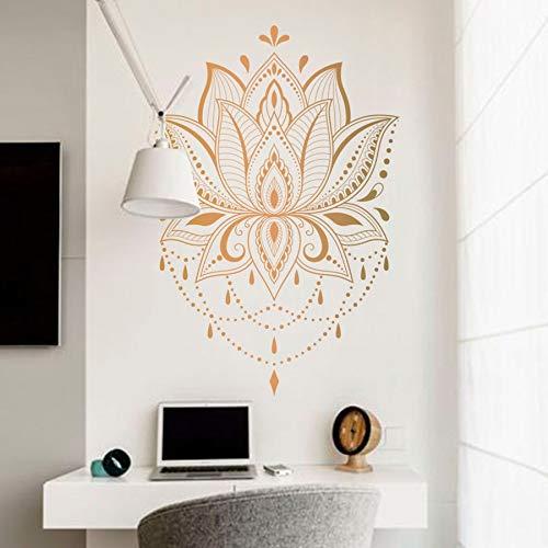 Lotus Blumenmuster Wandaufkleber Kunst Aufkleber Yoga Studio Mandala Vinyl Marokkanisches Muster Boho Bohemian Schlafzimmer Dekoration Poster Wandbild
