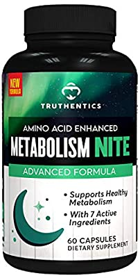 TRUTHENTICS Night Time Metabolism, Energy, Restorative Sleep Support - PM Muscle & Workout Recovery – Nighttime Stimulant Free Amino Acids Supplement Plus L-Glutamine - for Men & Women - 60 Capsules